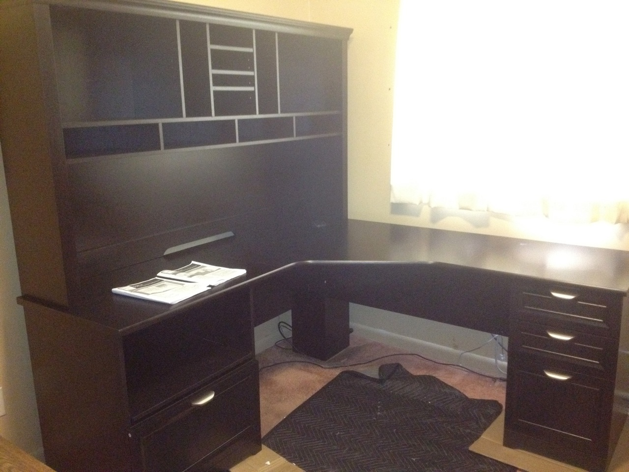 white short desk and hutch with business shaped cheap for workstation home drawers l best office wood black