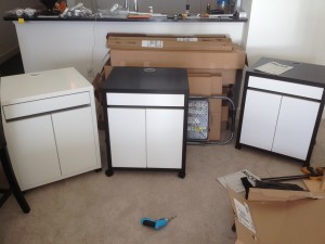 3 finished Ikea Micke Rolling cabinets